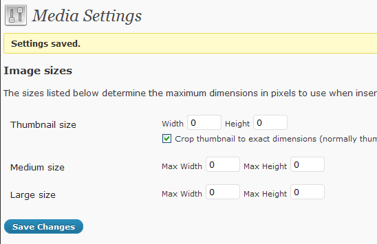 wordpress media setting